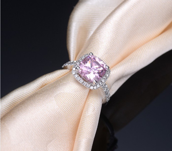 2019 Halo Style Cushion Cut Wholesale 1 ct Pink SONA Synthetic Diamond Ring For Women Sterling Silver Jewelry Fine 18K White Gold Plated