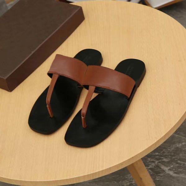 Men designer Flip-Flops Beach Slippers Shoes Genuine leather slipper slides sandals comfort flat shoes 4 colors size 40-48 w01