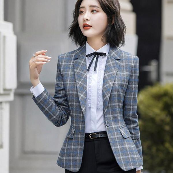 Giacca scozzese morbida e confortevole con giacca da ufficio stile casual da donna Giacca da donna con cappotto a bottone singolo