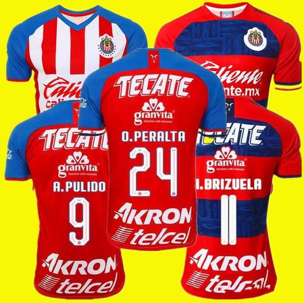 NOUVEAU 2019 2020 LIGA MX Club de Chivas de Guadalajara Soccer Jersey 19 20 Camisa de Futebol Accueil Troisième Maillots PULIDO Football Shirts Kit