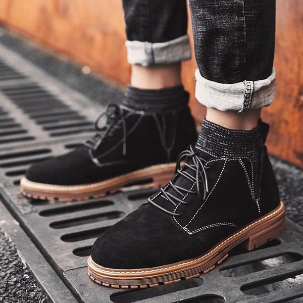 Мода мужчины сапоги открытый повседневная мужской ботильоны удобные замша корова кожа Мужская обувь Обувь зашнуровать обувь для k3