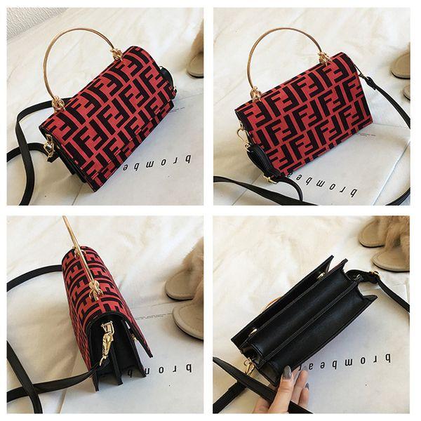 Women F Letters PU Handbag Fashion Protable One Shoulder Bag Trendy Messenger Bag Lady Zipper Tote Wallet Purse Travel Storage Bags C483