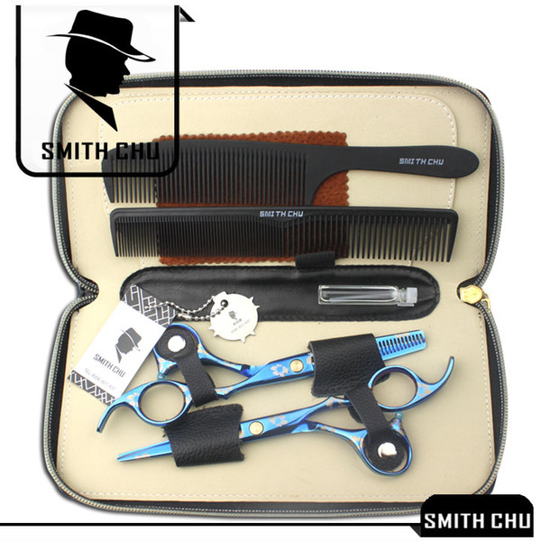 6.0Inch Smith Chu Best Scissors Professional Hair Scissors Cutting & Thinning Shears Salon Razor Hairdressing Barber Set with Case K5445