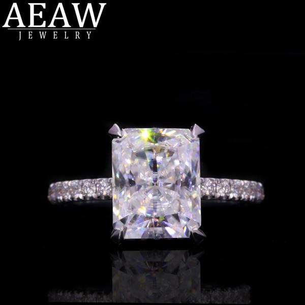 4.0 puro 14k 585 oro blanco radiante anillo de corte Certificado de compromiso Moissanite Solitario Para Mujer