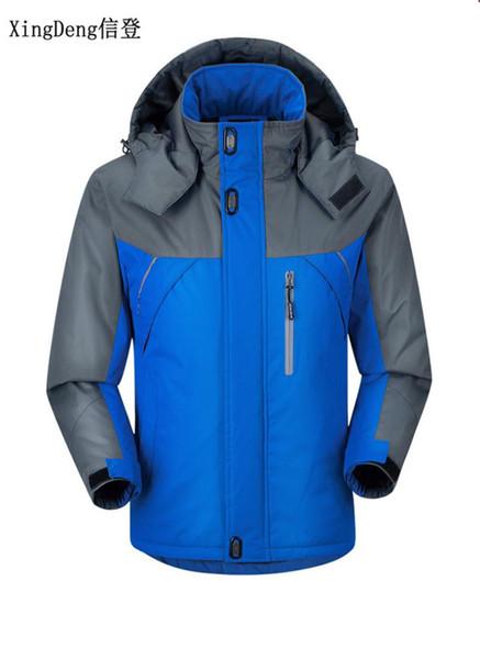 Xingdeng 2018 nouvelle épaisse chaude vestes vêtements imperméables à capuche casual sport hommes hommes mode manteau coupe-vent manteau grande taille