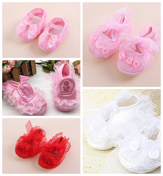 Cute girl spring&autumn first walker lace and bow-knot flower shoes Princess Girl First Shoes 5 color