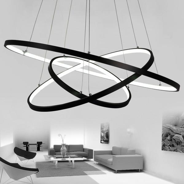 Acquista Lampadari Moderni Soggiorno Sala Da Pranzo 4/3/2/1 Cerchio Anelli  Corpo In Alluminio Acrilico Apparecchi Di Illuminazione A LED Lampada A ...