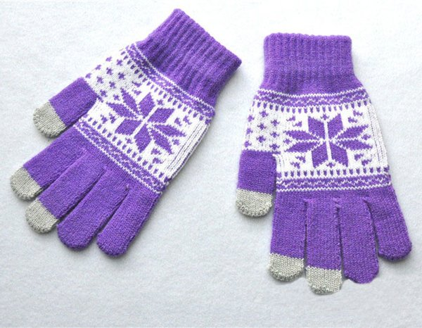Outdoor Sports Gloves Winter Snowflake Maple Leaf Pattern Warm Knitted Mittens Full Finger Gloves 9 Styles For Men & Women H919Q