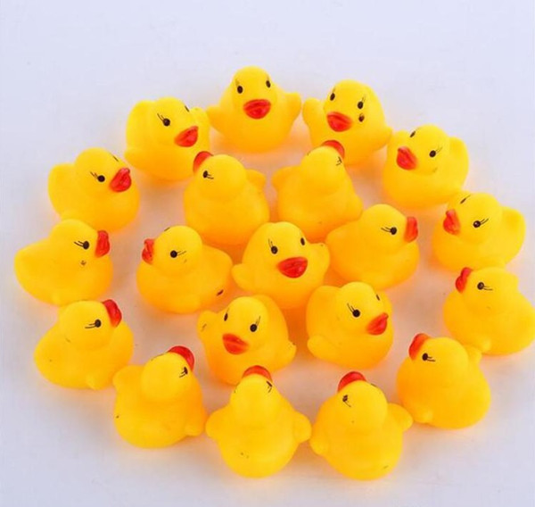 top popular Baby Bath Toy Sound Rattle Children Infant Mini Rubber Duck Swimming Bathe Gifts Race Squeaky Duck Swimming Pool Fun Playing Toy WCW216 2020