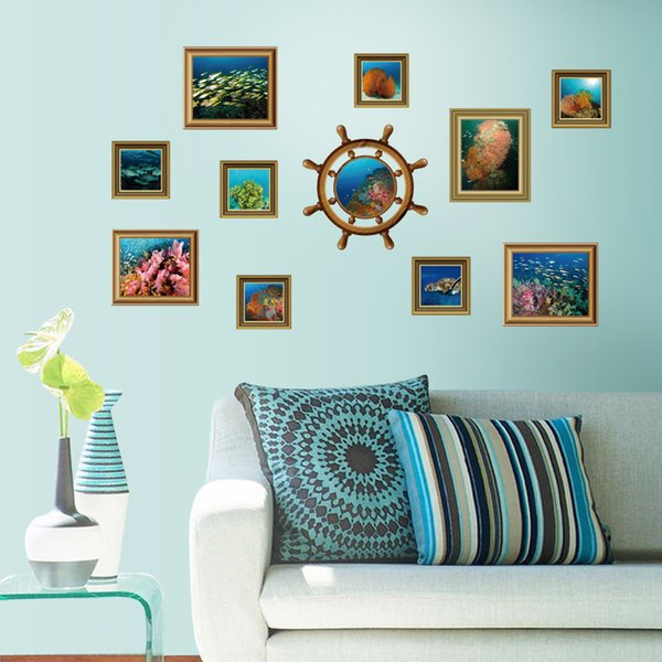Mediterranean Style Underwater World Wall Frame Wall Stickers Home Decor Parlor TV Sofa Wall Poster Self-adhesive PVC Art Mural