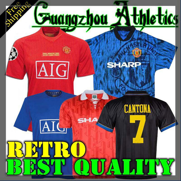 085295ebd3a Top 2006 2007 2008 United Retro UCL final match manutd home shorts sleeves  Jersey 1993 1994