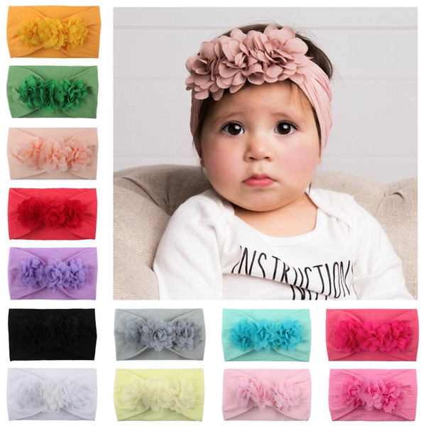 Baby Girl Headdress Chiffon Flower Kids Toddler Bow Hair band headband Big Floral Elastic Hair Bands lovely Baby Hair Accessories wholesale