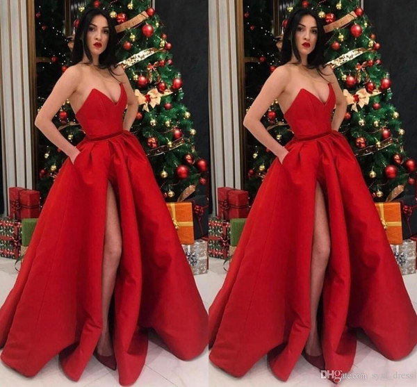 2019 Red Prom Dresses with Pockets Split Special Occasion Dress Vestidos De Soiree Evening Party Gowns
