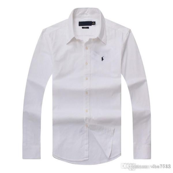 2018 novo outono e inverno dos homens de manga comprida camisa de algodão puro dos homens casuais POLOshirt moda Oxford camisa social marca pequena hor