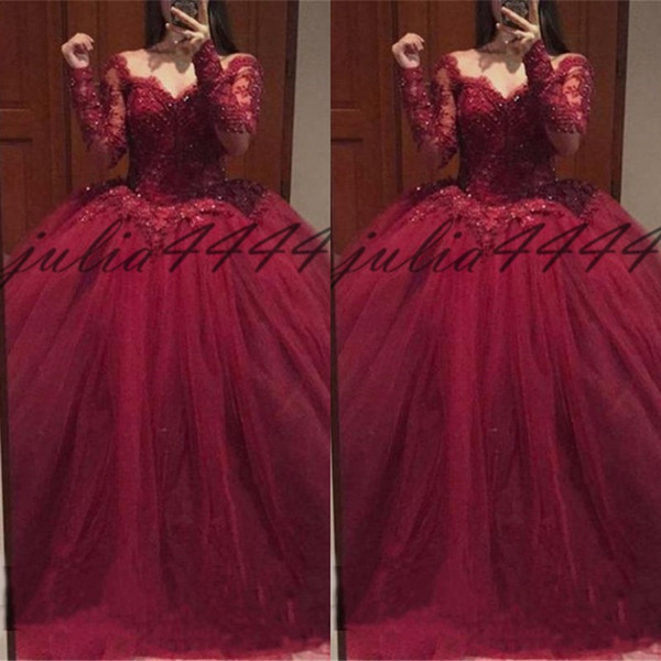 Burgundy Quinceanera Dresses Puffy Ball Gown Sweetheart Long Sleeve Fit and Flare Custom Made Applique Formal Gowns Sweet 16 Dress