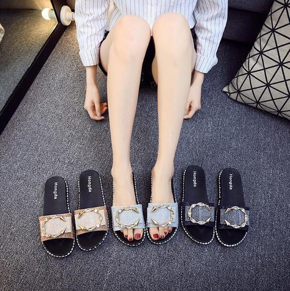 Women Summer Sandy beach Slippers Rhinestone Metal buckle Flat heel Slippers outdoors Slippers Women Sandals Hot Sale Summer Style