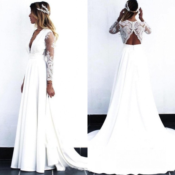 Discount 2019 Pattern Boho Wedding Dress Plunging V Neck Sheer Lace Open Back A Line Long Sleeves White Lace And Chiffon Beach Bridal Gowns Wedding
