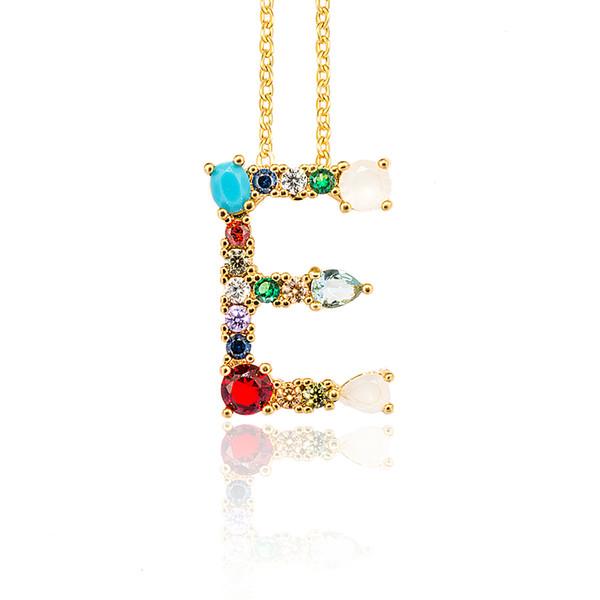 Multicolor moda charme ouro 26 colar de pingente de alfabeto micro pavimentar zircão carta inicial colares casal nome colar