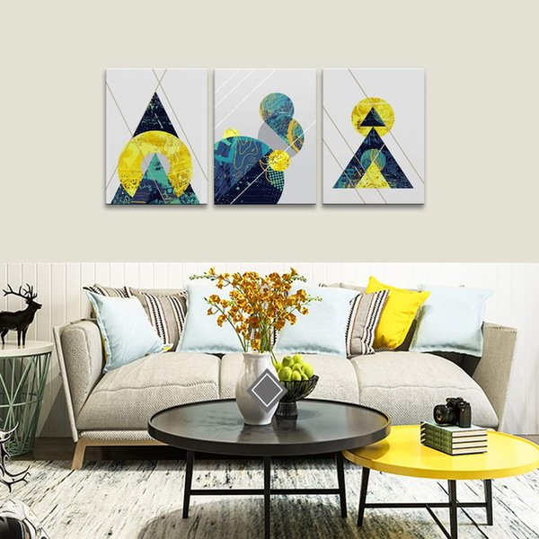 2019 Amosi Art Canvas Prints Wall Art Abstract Geometry Painting Blue Gold  Modern Framed Pictures For Living Room Bedroom Decor Gift From ...