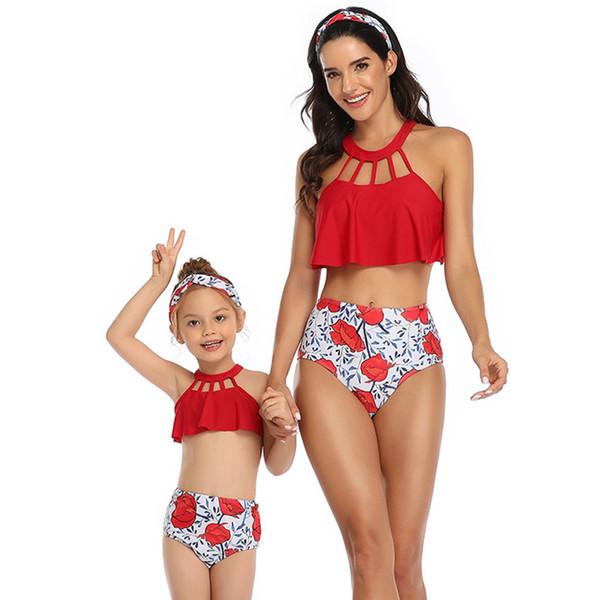 Parent-child Swimwear Swimsuit Women Kids Two Piece Red High Waist Bikini Set