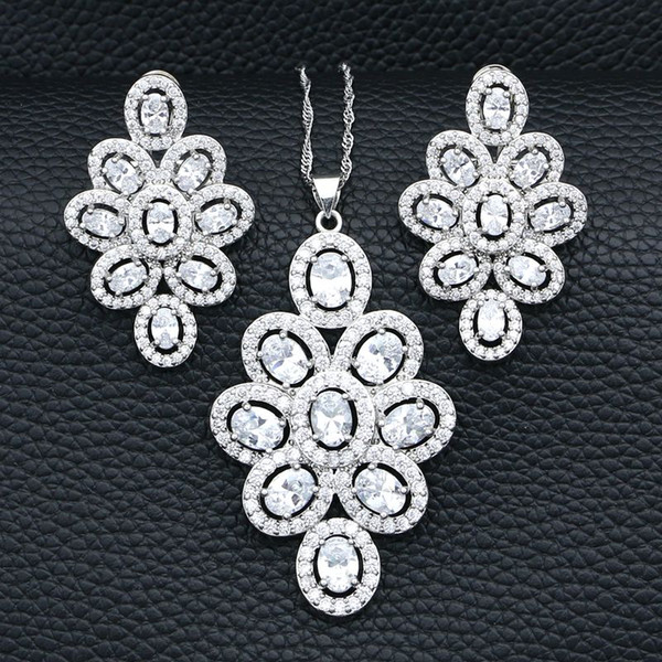 925 Silver Bridal Jewelry Sets For Women Wedding Decoration White