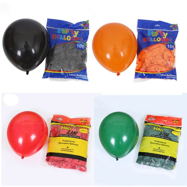 best selling Halloween Decoration Thick Latex Balloon Black Orange Red Green Matte 10 Inches 2.2G Inflatable Festival Decoration Party Supplies 08