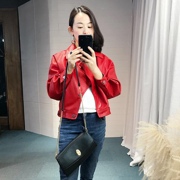 Moda solta fit jaqueta de couro falso mulheres turn down collar single breasted casaco de couro outerwear novo 2019 outono inverno
