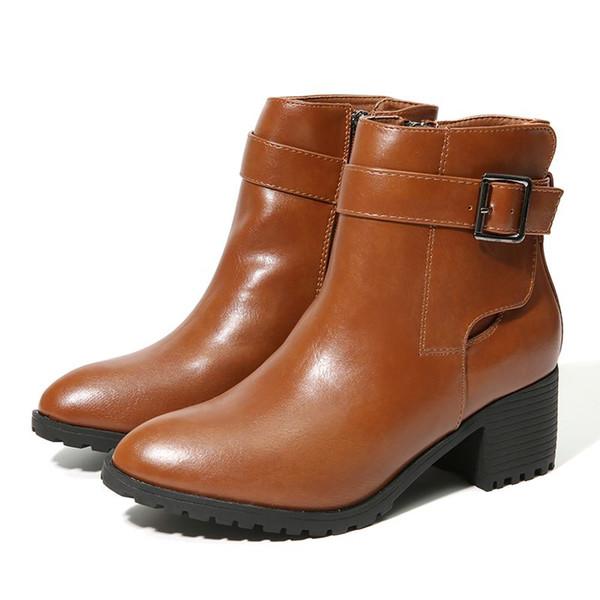 5 cm NIS felpa hebilla marrón negro botines invierno 5 cálido decoración corta vintage mujer gOP4Zf