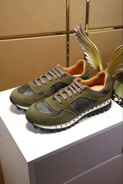 2019 Luxus Designer Rock Stud Sneaker Schuhe Hohe Qualität Frauen, Männer Freizeitschuhe Rock Runner Trainer Party Hochzeit Schuhe uk03