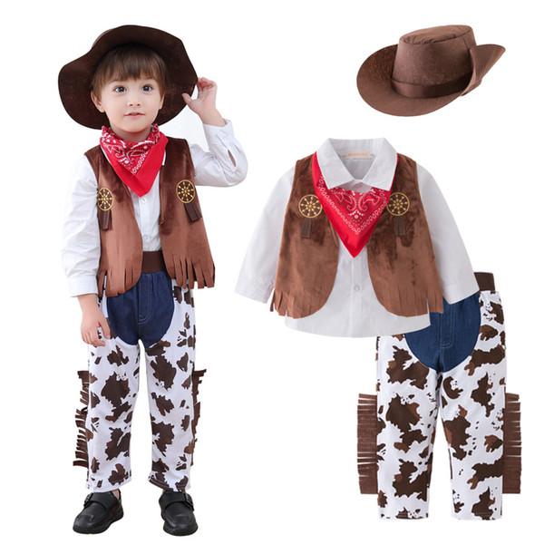 Crianças roupas de grife meninos roupas de cowboy ocidental crianças chapéu + jardineiras + colete + camisas + calças 5 pçs / set 2019 primavera outono conjuntos de roupas de bebê C428