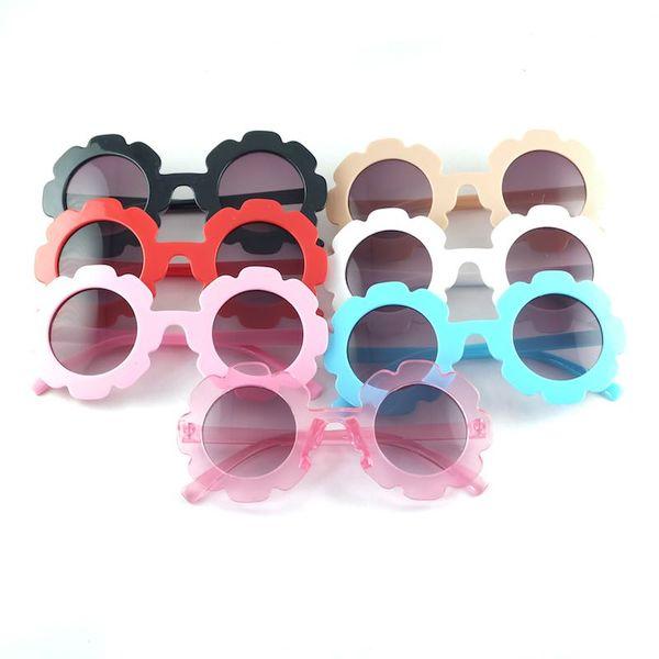 Hot Kids Sunglasses Round Sunflower Frame Children Sun Glasses UV400 Protection 7 Colors Fashion Outdoor Eyeglasses Cheap Wholesale