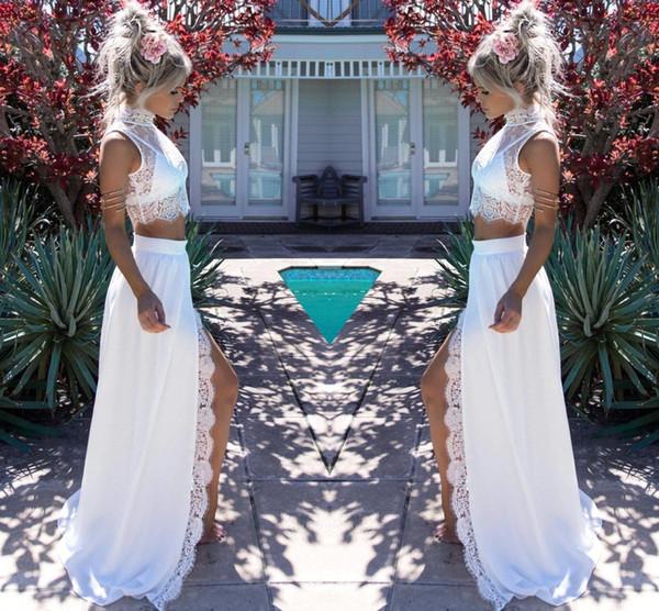2019 Moderne Deux Pièces En Dentelle De Mousseline De Soie Robes De Mariée Élégant Gaine Split Haut Collier De Mariée D'été Plage De Mariage Robes