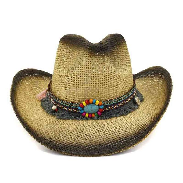 WZCX 2019 New Spray Paint Tassel Colored Stones Cowboy Straw Hat Tide Outdoor Personality Women Beach Hat Summer