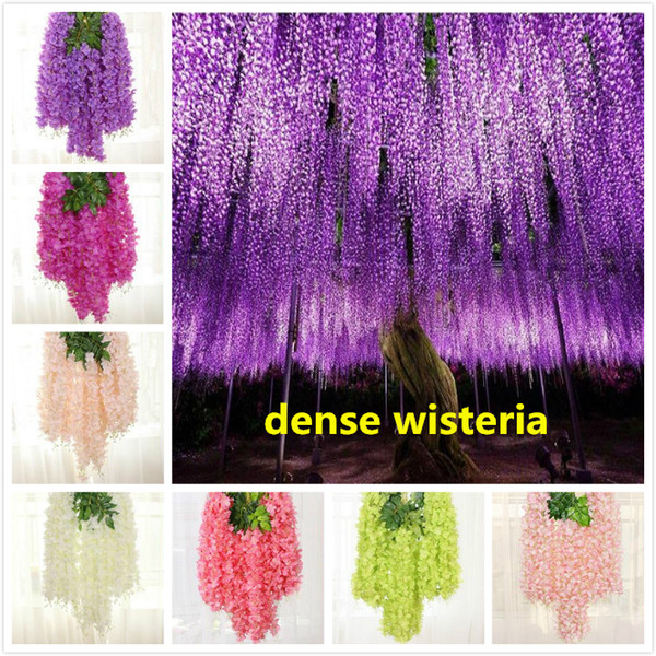 best selling 110cm dense wisteria flower artificial silk flower vine elegant wisteria vine rattan for wedding garden home parties decoration