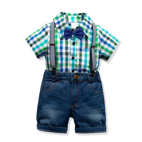 toddler clothing set for boys suits 2019 summer new arrived 4 colors plaid shirt + short jeans with strap kids' wear