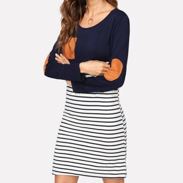 Sexy Dress Bodycon Dress O Neck Long Sleeve Pocket Stripe Patchwork Casual Dress Vestidos De Festa