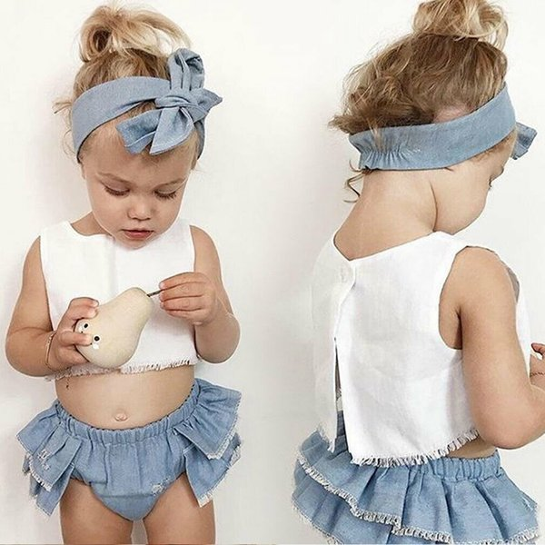 Neonate Neonate Tops Ruffle Jeans Dress Shorts Outfit Abiti estivi 3PCS