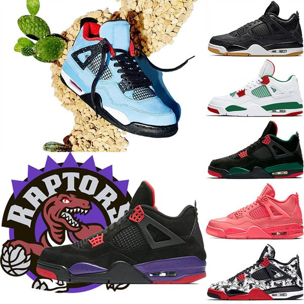 4 Raptors Tattoo Hot Punch basketball shoes Travis Scott 4s Cactus Jack Pure Money Pizzeria Black Cat Gum Men sneakers trainers sports shoes