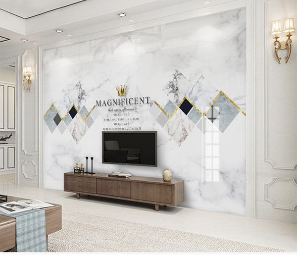 Custom Mural Wallpaper 3d Modern Minimalist Jazz White Marble Geometric Square Living Room Bedroom Background Wall Decoration Wallpaper Colorful