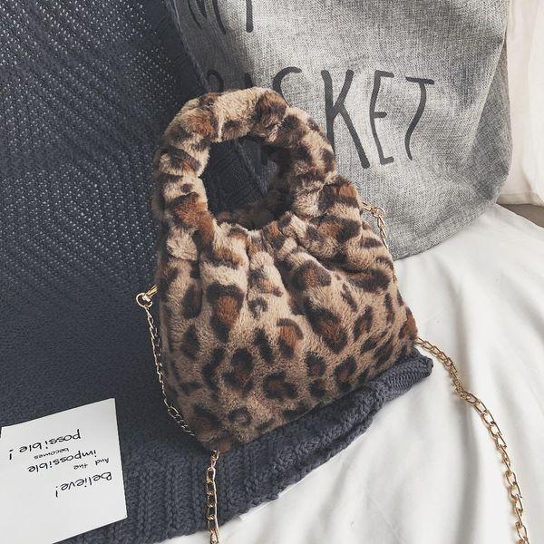 Mini Estampa de Leopardo Crossbody Sacos Para As Mulheres 2018 Bolsas Messenger Bags Bolsa de Ombro Senhora Faux Fur Pequeno Balde Cadeia Sacos