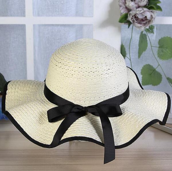 Summer Lady Big Hat Protection du soleil Bow Hat Nouvelle mode Big Beach Sun HatWide Chapeaux
