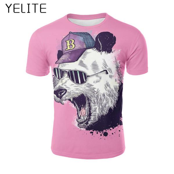 YELITE 2019 panda T-shirt Top Men T shirt New Design High Quality fun 3D cartoon print 3d Cool Sleeve Fitness TShirt Tops & Tees
