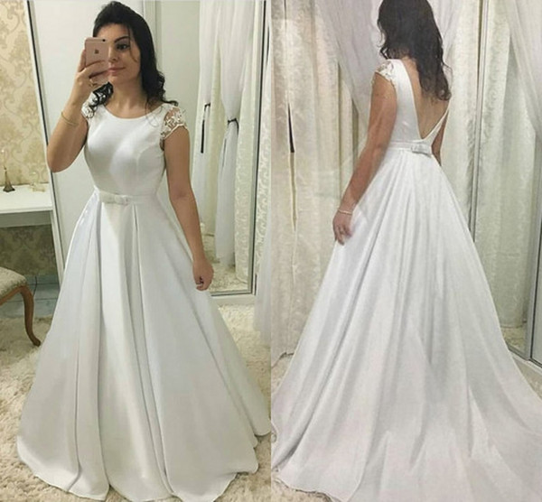 Discount Vintage Simple A Line Bows Wedding Dresses Jewel Neck Short Sleeves Backless Sweep Train Pleated Satin Wedding Bridal Gowns Wedding Dresses