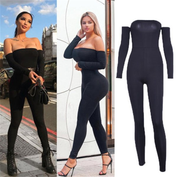 Romper Bodysuit Womens Fall High waist Slim Off Shoulder Clubwear Playsuit Bodycon Party Jumpsuit Romper Trousers Sexy Jumpsuit