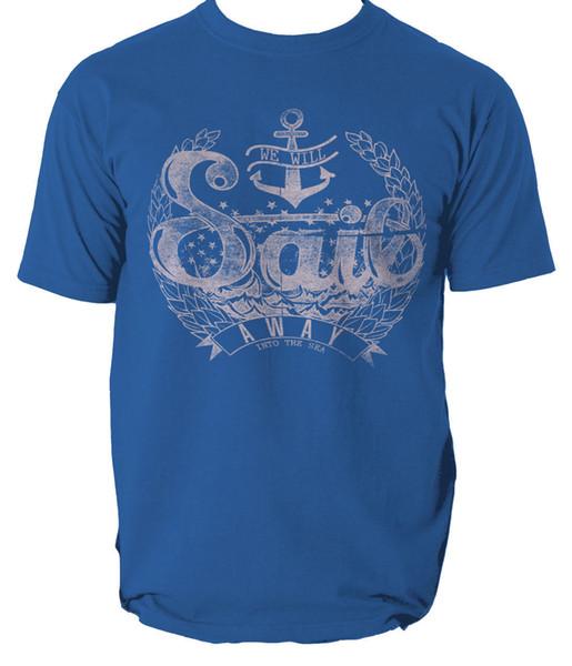 Vela via maglietta Into the Sea capitano barca a vela S-3XL Uomo Donna Unisex Fashion tshirt Spedizione gratuita Divertente Cool Top Tee Nero