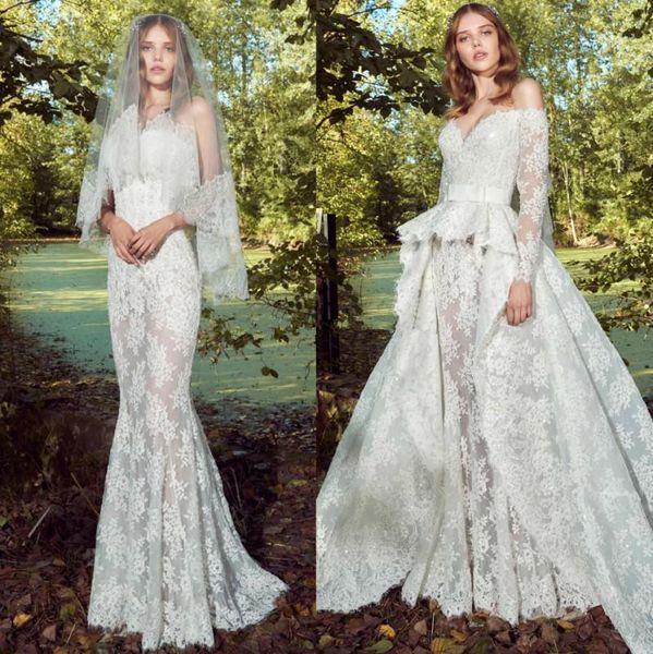 Zuhair Murad Mermaid Wedding Dresses with Detachable Skirt 2019 Full Lace Applique Long Sleeve Sweep Train Church Garden Wedding Gown