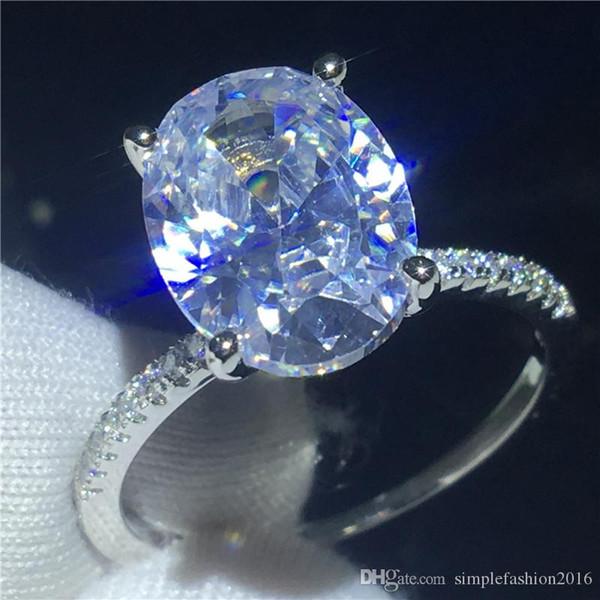 Anillo solitario anillo Oval corte 3ct Diamante 925 anillo de la venda de boda de compromiso para las mujeres hombres Joyería del dedo