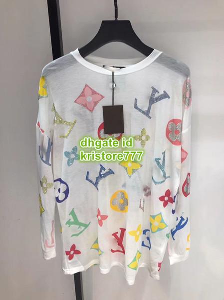 Haut de gamme femmes Designer De Luxe Designer Pull Surdimensionné Chemise Avec Lettre Strass Filles Top Chemises Femme Piste Multicolore Blouse Tops