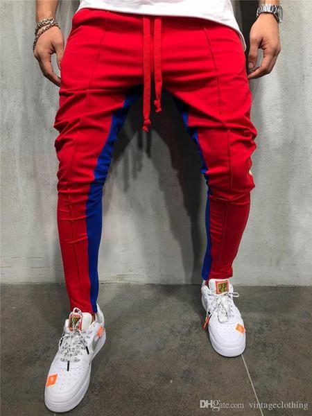 Outono Novos Homens High Street Moletom Calças Masculino Listra Lateral Hip Hop Sweatpants Calças Basculador Streetwear M-3XL