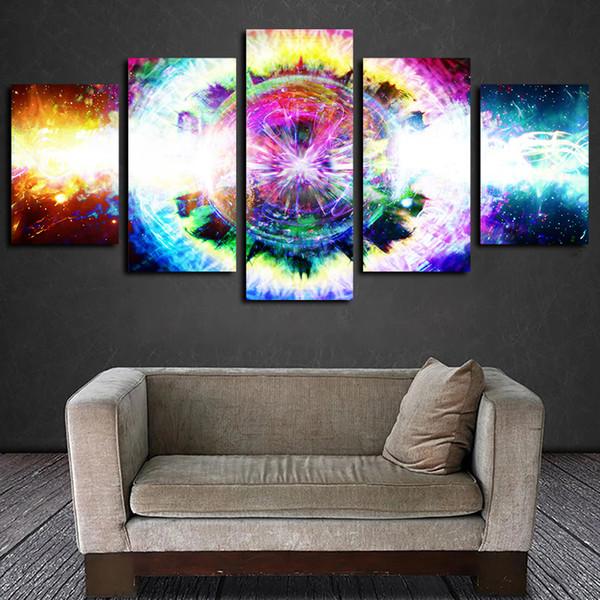 5 panneaux psychédélique Espace Œuvres d'art moderne d'art mur de toile Affiche abstraite Toile HD Peinture à l'huile Imprimer décorations pour les murs